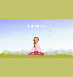 Meditation mountains vector