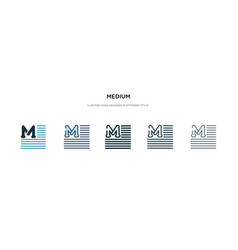 medium icon in different style two colored and vector image