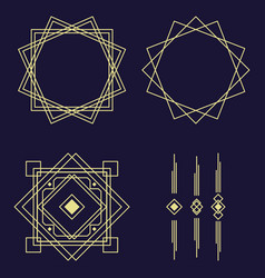 modern art deco lines set arabic decorative gold vector image