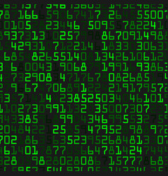 modern background with green numbers on a black vector image