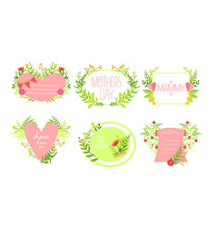 mothers day elegant card templates set design vector image