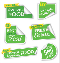 natural organic products green collection of label vector image