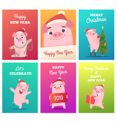 new year cards template celebration funny badges vector image