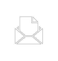 Opened envelope with letter flat icon vector