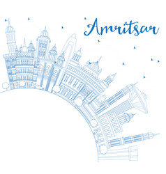 Outline amritsar india city skyline with blue vector