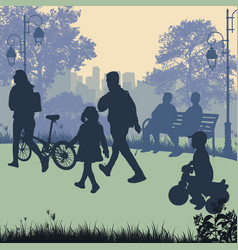 people in a city park silhouettes vector image