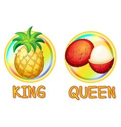 Pineapple and rambutan on round badges vector