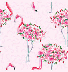 Pink flamingo body roses seamless pattern vector