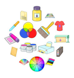 Print process icons set cartoon style vector