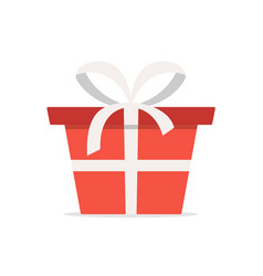 red gift box with white ribbon flat cartoon icon vector image