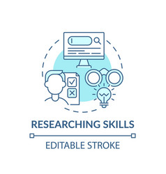 Researching skills blue concept icon vector