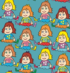 Seamless dolls vector