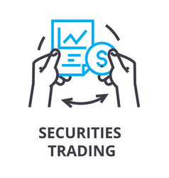 securities trading thin line icon sign symbol vector image