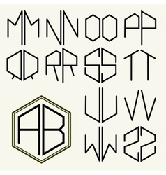 Set 2 template letters to create monograms vector image