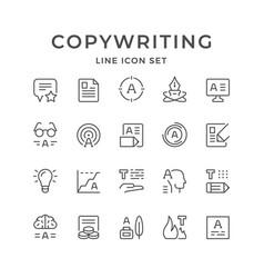 set line icons copywriting vector image