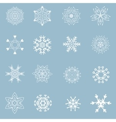 Set of beautiful different snowflakes vector image