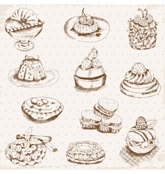 Set of cakes sweets and desserts vector