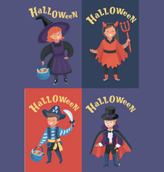 set of children halloween costumes vector image