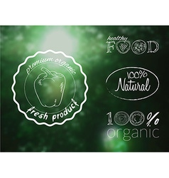 Set of organic food logos on a blur forest vector
