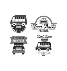 Set of original logo templates for food truck vector