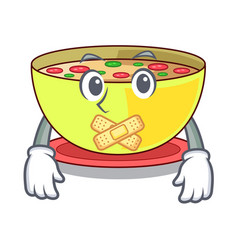 silent corn chowder in a cartoon plate vector image