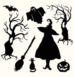 Silhouette witch pumpkin lantern ghost trees vector