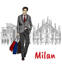Sketch of man with shopping bags vector