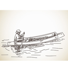 Sketch of small row boat vector image
