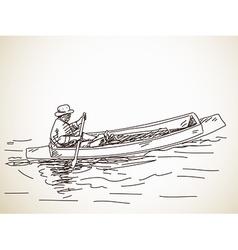 Sketch small row boat vector