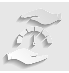 Speedometer sign Paper style icon vector image