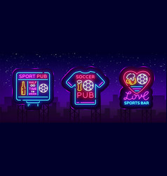 sports bar collection logos neon sports vector image