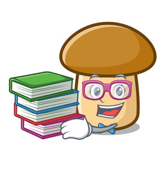 Student with book porcini mushroom mascot cartoon vector