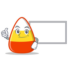 Thumbs up with board candy corn character cartoon vector