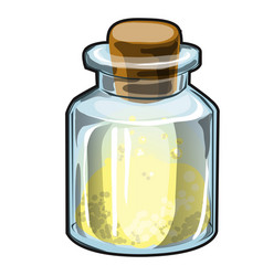 Transparent glass jar with cork with yellow vector
