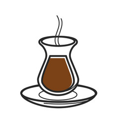Turkish tea coffee glass symbol of turkey culture vector