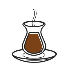 turkish tea coffee glass symbol turkey culture vector image
