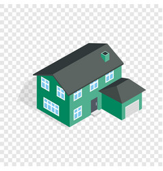 two storey house with garage isometric icon vector image