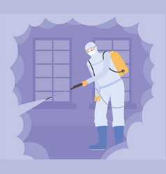 virus disinfection man wearing protective suit vector image