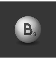 Vitamin B3 Silver Glossy Sphere Icon on Dark vector image