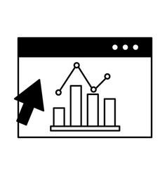 website report statistics chart growth click vector image