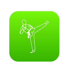 Wushu master icon digital green vector