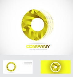 Yellow circle 3d logo vector