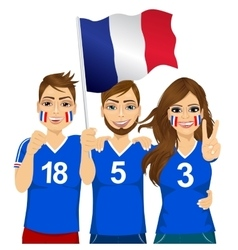 Young french soccer fans vector