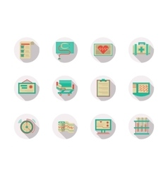 Cardiology equipment round flat color icons vector image vector image