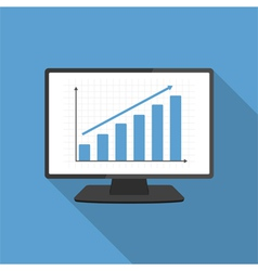 Computer with Bar Graph vector image vector image