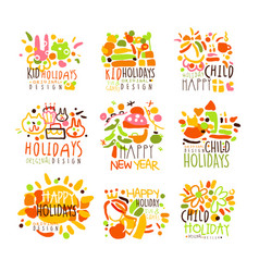 happy kid holiday colorful graphic design template vector image vector image