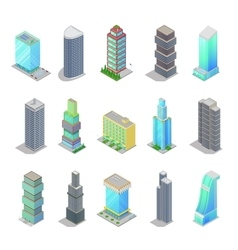Isometric City Skyscraper Buildings Architecture vector image