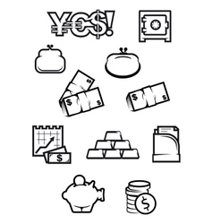 Money and finance icons in outline style vector image