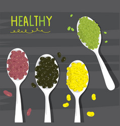 bean green red black soy on spoon cartoon vector image