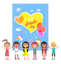 best friends day banner and friendly children vector image vector image